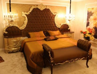 Casa Padrino Luxus Barock Schlafzimmer Set Braun / Creme / Gold - 1 Doppelbett mit Kopfteil & 2 Nachttische & 1 Sitzbank - Barock Schlafzimmer Möbel - Edel & Prunkvoll