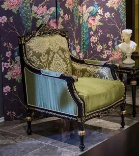 Casa Padrino Luxus Barock Sessel Grün / Schwarz / Gold 75 x 74 x H. 106 cm - Edler Massivholz Sessel mit elegantem Muster - Wohnzimmer Möbel im Barockstil