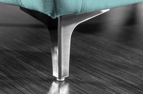 Casa Padrino Chesterfield Samt Hocker Türkis / Silber 90 x 63 x H. 47 cm - Moderner rechteckiger Sitzhocker - Wohnzimmermöbel - Vorschau 5
