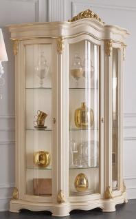 Casa Padrino Luxus Barock Wohnzimmer Vitrine Creme / Gold 155 x 54 x H. 227 cm - Prunkvoller Barock Vitrinenschrank mit 3 Glastüren - Edle Barock Möbel