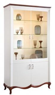 Casa Padrino Luxus Art Deco Vitrinenschrank Weiß / Dunkelbraun 114 x 46, 5 x H. 209, 5 cm - Wohnzimmerschrank mit 4 Türen - Wohnzimmermöbel