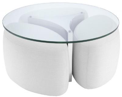 Casa Padrino Luxus Couchtisch Weiß / Silber Ø 104 x H. 46, 5 cm - Runder Edelstahl Wohnzimmertisch mit Glasplatte und 3 eleganten Sitzhocker - Wohnzimmer Möbel - Luxus Möbel