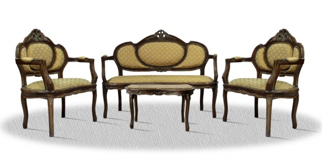 Casa Padrino Barock Salon Set braun / creme / gold mit Muster / bronze - Hotel Möbel - Vorschau