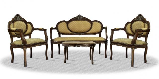 Casa Padrino Barock Salon Set braun / creme / gold mit Muster / bronze - Hotel Möbel