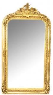 Casa Padrino Barock Wandspiegel Gold 70 x H. 140 cm - Prunkvoller Barock Spiegel mit Holzrahmen und wunderschönen Verzierungen
