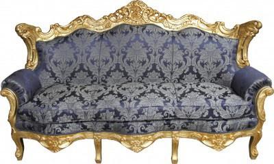 Casa Padrino Barock Wohnzimmer Set Royal Blau Muster/ Gold - 3er Sofa+2er Sofa + 1 Sessel - Vorschau 4