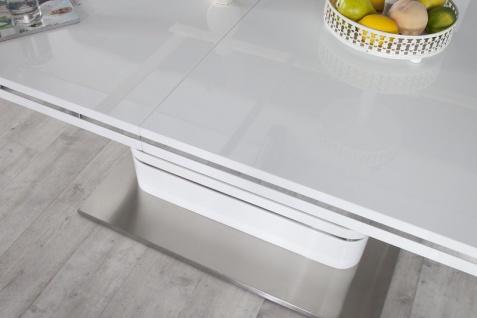 Moderner Yacht Design Esstisch Weiß Hochglanz Ausziehbar 160 - 220 cm von Casa Padrino - Esszimmer Tisch - Vorschau 3