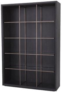 Casa Padrino Luxus Regalschrank mit 4 Glasregalen Anthrazitgrau / Kupferfarben 150 x 46 x H. 221, 5 cm - Bücherschrank - Wohnzimmerschrank - Büroschrank - Luxus Schrank
