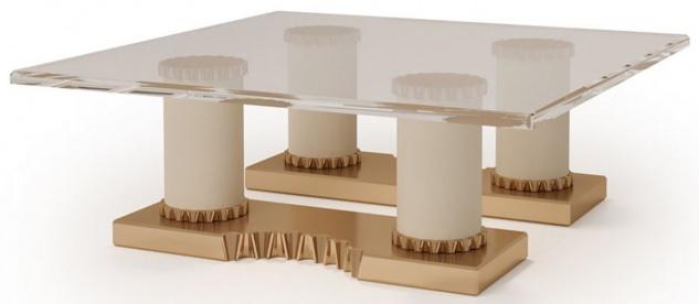 Casa Padrino Luxus Designer Couchtisch Creme / Bronzefarben 130 x 130 x H. 45 cm - Handgefertigter Wohnzimmertisch mit Glasplatte - Luxus Hotel Möbel - Made in Italy
