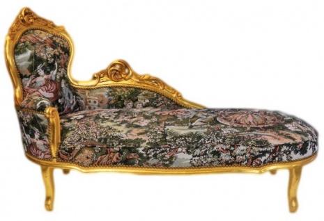 Casa Padrino Barock Chaiselongue Gobelin Muster / Gold - Möbel Lounge Liege Recamiere