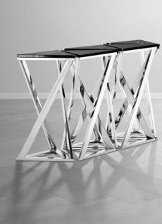 Casa Padrino Luxus Konsolen 5er Set in silber mit schwarzem Marmor 143 x 41 x H. 80, 5 cm - Designer Hotel Möbel - Vorschau 4