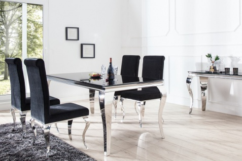 Casa Padrino Luxus Esszimmer Set Schwarz / Silber - Esstisch 200 cm + 6 Stühle - Luxus Qualität - Modern Barock - Vorschau 3