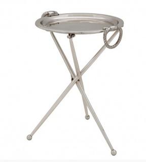 Casa Padrino Designer Luxus Beistelltisch Silber Vintage Design Höhe: 43 cm, Durchmesser 33 cm - Edelstahl Tisch - Nickel Finish - Luxus Qualität