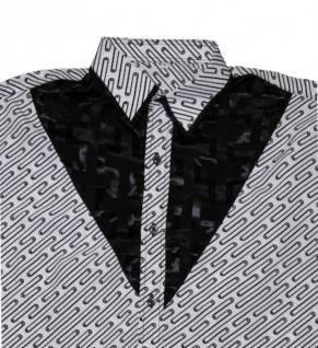 Thai Seidenhemd von Il Padrino Moda Black/White Mod1- Hawaii Langarm hemd - Vorschau 2