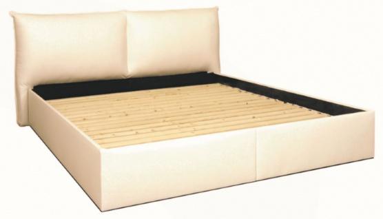 Casa Padrino Bett Weiß - Echtleder Schlafzimmermöbel