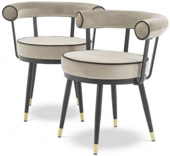 Casa Padrino Luxus Esszimmerstuhl Set Greige / Schwarz / Messing 66 x 59 x H. 70 cm - Esszimmerstühle mit edlem Samtstoff - Esszimmer Möbel
