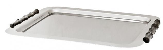 Casa Padrino Luxus Tablett Rechteckig Edelstahl vernickelt Bamboo 55 x 42.5 cm - Luxury Collection - 5 Sterne Gastronomie Einrichtung