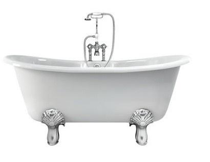 Casa Padrino Jugendstil Badewanne Naturstein freistehend 1700mm BCha Weiß - Freistehende Retro Antik Badewanne