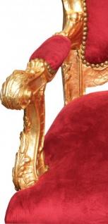 Casa Padrino Barock Thron Sessel Bordeaux Rot / Gold - Unikat - Barock Möbel Tron Königssessel - Vorschau 2