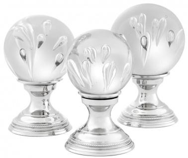 Casa Padrino Luxus Wohnzimmer Deko 3er Set Silber - Glas Kugeln mit Messing Sockel - Vorschau 3