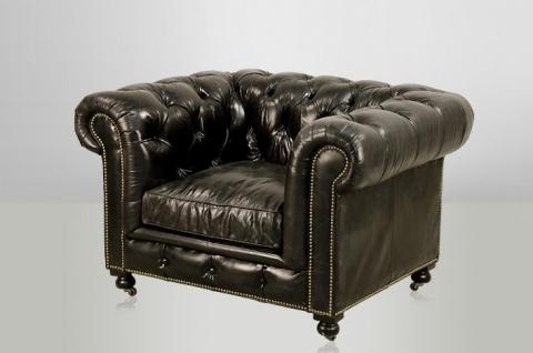 Chesterfield Luxus Echt Leder Sessel Vintage Leder von Casa Padrino Ebony - Club Sessel
