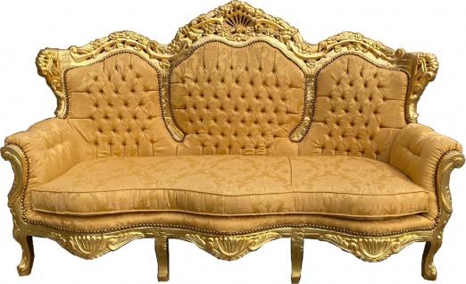 Casa Padrino Barock 3er Sofa Lord Gold Muster / Gold 184 x 81 x H. 125 cm - Handgefertigtes Wohnzimmer Sofa im Barockstil - Barock Wohnzimmer Möbel