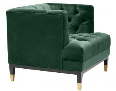Casa Padrino Luxus Wohnzimmer Sessel Grün / Schwarz / Messingfarben 93 x 85 x H. 79 cm - Chesterfield Möbel - Vorschau 4