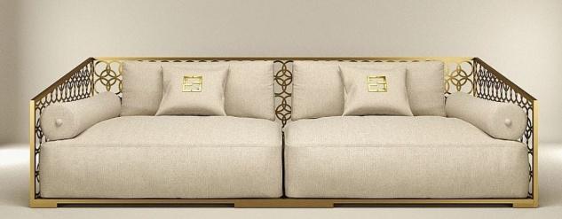 Casa Padrino Luxus 3er Sofa Elfenbeinfarben / Champagner-Gold 325 x 109 cm - Handgefertigtes Sofa mit Kissen - Wohnzimmer Sofa - Garten Sofa - Terrassen Sofa - Hotel Möbel - Luxus Qualität
