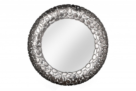 Casa Padrino Designer Wandspiegel Aluminium Metall - Stein Mosaik - silberfarbig