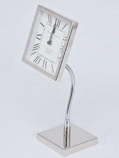 Casa Padrino Luxus Messing Tischuhr Silber 16 x 12 x H. 41 cm - Deko Accessoires