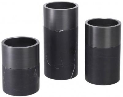 Casa Padrino Luxus Kerzenhalter Set Schwarz / Bronzefarben - 3 runde Marmor Kerzenhalter - Luxus Qualität - Deko Accessoires - Vorschau 2