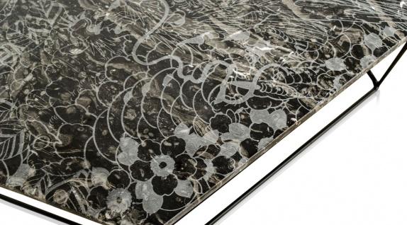 Casa Padrino Designer Couchtisch Schwarz mit Muster / Schwarz 89 x 54 x H. 30 cm - Luxus Wohnzimmertisch mit Marmorplatte - Vorschau 4