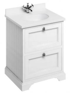 Casa Padrino Waschschrank / Waschtisch mit Marmorplatte und 2 Schubladen 67 x 55 x H.93 cm