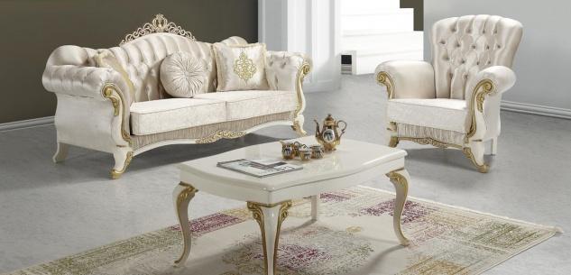 Casa Padrino Barock Wohnzimmer Set Champagnerfarben / Creme / Gold - 2 Sofas & 2 Sessel & 1 Couchtisch - Wohnzimmer Möbel - Edel & Prunkvoll