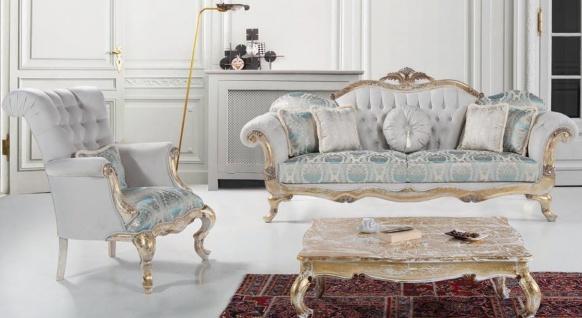 Casa Padrino Luxus Barock Wohnzimmer Set Grau / Türkis / Antik Gold - 2 Sofas & 2 Sessel & 1 Couchtisch - Wohnzimmer Möbel im Barockstil - Edel & Prunkvoll