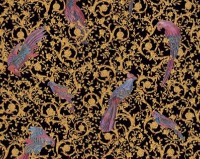 Versace Designer Barock Vliestapete IV 37053-1 - Schwarz / Gold / Blau / Violett - Design Tapete - Hochwertige Qualität - Vorschau 1