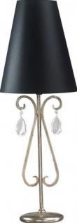 Casa Padrino Luxus Barock Tischleuchte Schwarz / Silber mit Glaskristallen 84 x 31 cm - versilberte Säulen Lampe - Handgefertigt in Italien