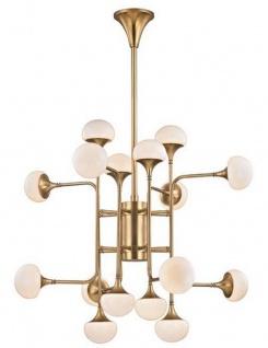 Casa Padrino Luxus LED Kronleuchter Antik Messingfarben / Weiß Ø 92, 7 x H. 83, 8 cm - Kronleuchter mit kugelförmigen Glas Lampenschirmen - Luxus Qualität