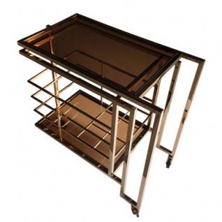 Casa Padrino Bar Trolley Servierwagen Gold / Smoked Glass 77 x 42 x H. 77, 5 cm - Hotel & Restaurant Einrichtung Möbel