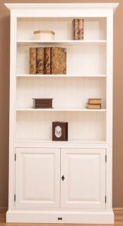Casa Padrino Landhausstil Bücherschrank / Regalschrank Weiß 110 x 39 x H. 210 cm - Wohnzimmerschrank mit 2 Türen - Vorschau 3