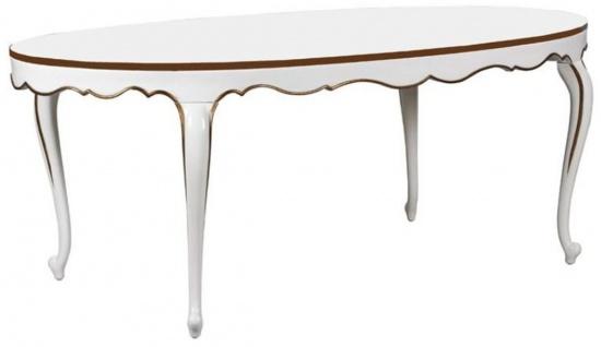Casa Padrino Luxus Barock Esstisch Weiß / Gold 207 x 114 x H. 78 cm - Ovaler Mahagoni Küchentisch - Barock Esszimmer Möbel - Luxus Qualität - Vorschau 1