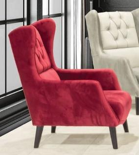 Casa Padrino Chesterfield Ohrensessel Rot / Schwarz 80 x 80 x H. 90 cm - Moderner Wohnzimmer Sessel - Chesterfield Wohnzimmer Möbel