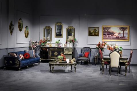 Casa Padrino Luxus Barock Wohnzimmer & Esszimmer Set Blau / Schwarz / Gold - Barockmöbel