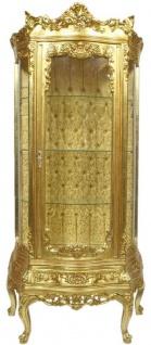 Casa Padrino Barock Vitrine Gold 80 x 40 x H. 200 cm - Prunkvoller Barock Vitrinenschrank mit Glastür und wunderschönen Verzierungen - Barock Möbel