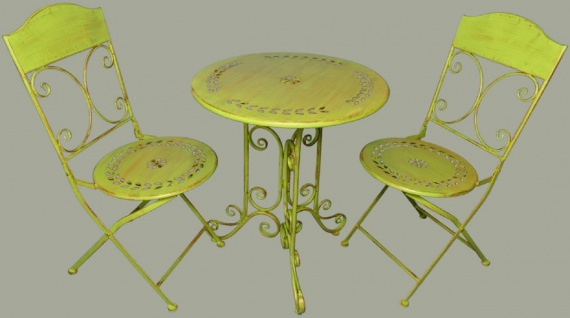 Casa Padrino Jugendstil Gartenmöbel Set Rustikal Grün - 1 Tisch & 2 Stühle - Barock & Jugendstil Gartenmöbel