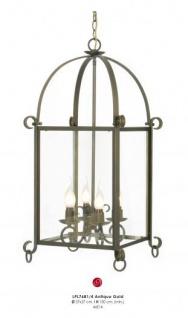 Casa Padrino Barock Hängeleuchte Gold Antik-Look, 4 Flammiger Kronleuchter, Durchmesser 37 cm, Höhe 100 cm - Barock Schloss Lampe