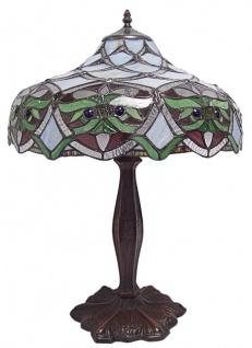 Casa Padrino Luxus Tiffany Tischleuchte Mehrfarbig Ø 41, 5 x H. 59 cm - Hangefertigte Tischlampe