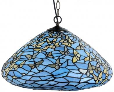 Casa Padrino Luxus Tiffany Hängeleuchte Schmetterlinge Blau / Mehrfarbig Ø 50 x H. 135 cm - Hängelampe aus zahlreichen Glas Mosaik Stücken