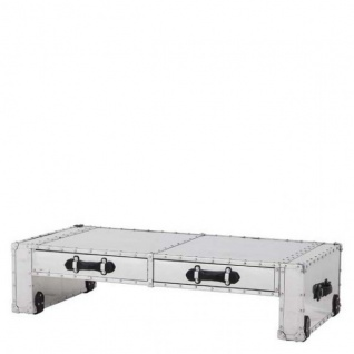 Casa Padrino Couchtisch Vintage Metal Aluminium Mod2 - Coffee Table - Alu Salon Tisch