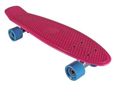 Oldschool Skateboard Plastic Cruiser 70s Style Pink / Cyan Plastik Skateboard - Vinyl Skateboard Cruiser Longboard